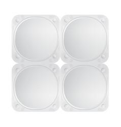 White foil lid for yogurt dessert or cream vector