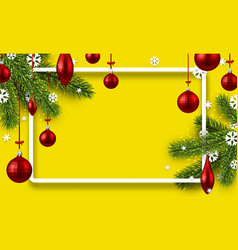 Yellow background with colorful christmas balls vector