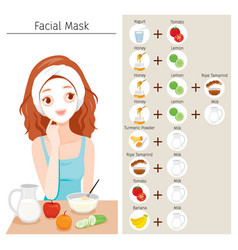 Young woman mask her face with natural facial vector