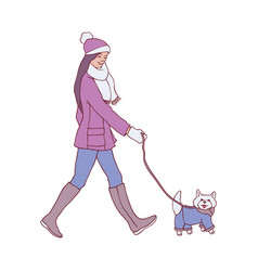 young woman walking dog in vector image