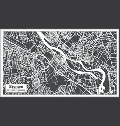 Bremen germany city map in retro style outline map vector