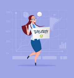 business woman hired on vacancy recruitment new vector image