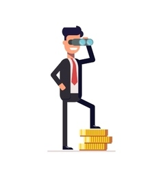 Businessman looking through binoculars and is on vector image vector image