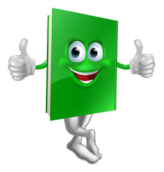 cute thumbs up green book character vector image