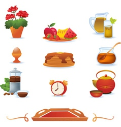 Red breakfast icons set vector image vector image