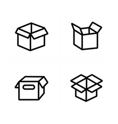 set of parcel box open box icons vector image vector image
