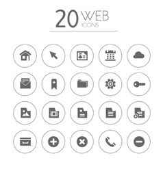 Simple thin web icons collection on white vector image vector image