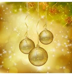 Golden Christmas balls vector image
