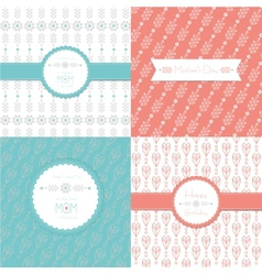 Greeting Cards Happy Birthday and Mothers Day Set vector image vector image