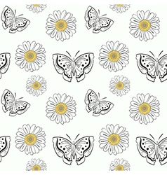 seamless pattern with doodle butterflyes and daisy vector image