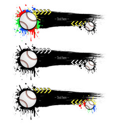 set grunge banners with blots and baseball balls vector image vector image