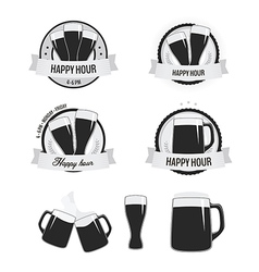 Set of happy hour labels and beer icons vector image vector image
