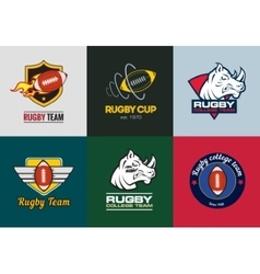Set of vintage color rugby championship logos and vector image