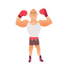 young bald caucasian male boxer raising arms vector image
