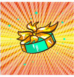 gift floating pop art retro comic style vector image