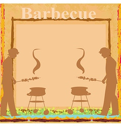 Man cooking on his barbecue - invitation card vector