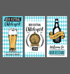 oktoberfest flyers beer festival cards with hand vector image