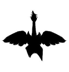 Black electric guitar to pley music with wings vector