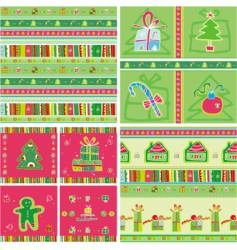 Christmas seamless patterns vector image