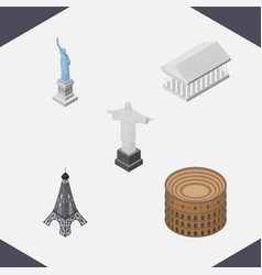 isometric architecture set of paris new york rio vector image vector image