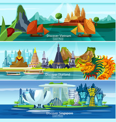 Asian travel banners vector