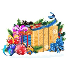 Baubles and Christmas presents on wooden vector image