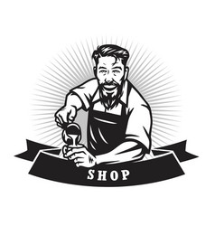 Bearded barista man making coffee latte art logo vector