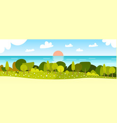 beautiful spring landscape with sunset river and vector image