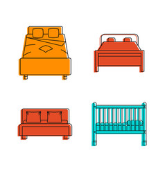 Bed icon set color outline style vector