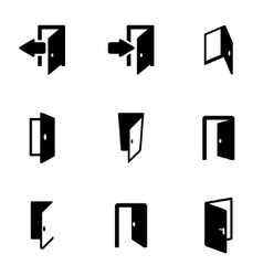 Black door icon set vector
