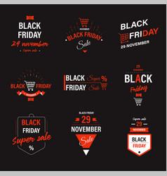 black friday sale discounts and sale emblems set vector image