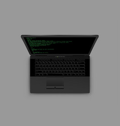 Black laptop from above vector