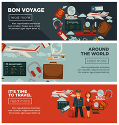 bon voyage around world and time to travel posters vector image