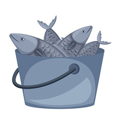 Bucket of fish on white background vector
