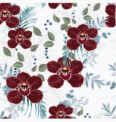burgundy orchid herbs berries palm leaves vector image