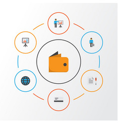Business flat icons set collection of global vector