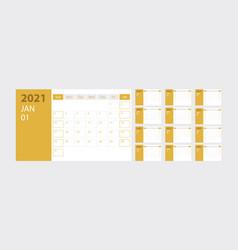 calendar 2021 week start sunday corporate design vector image