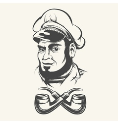 Captain with smoking pipes vector