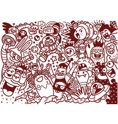 Cartoon hand drawn doodles holiday poster vector