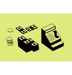 Cash register and money Pile of cash and coins Set vector image