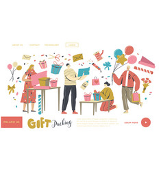 Characters making and packing gift for holidays vector