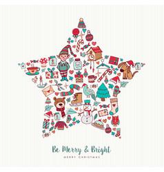 christmas hand drawn icon star holiday card design vector image