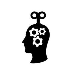 clockwork head a man with cogs mechanism inside vector image