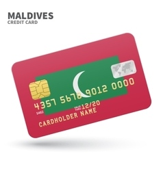 Credit card with Maldives flag background for bank vector image