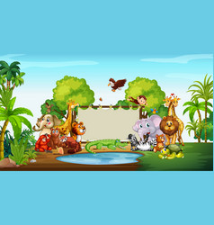 Cute animals at zoo with blank sign vector