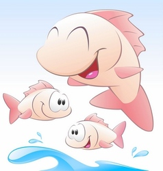 cute cartoon fishes vector image