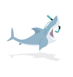 cute flat shark open mouth with diving equipment vector image