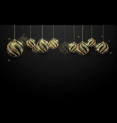 decorative golden christmas balls hanging vector image