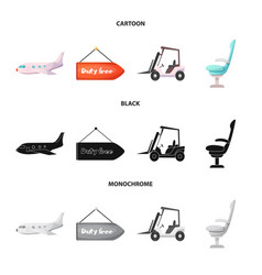 design airport and airplane icon set of vector image