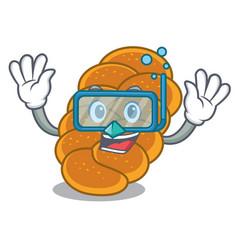 Diving challah character cartoon style vector